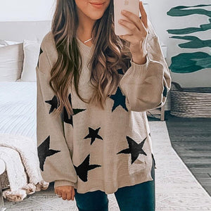 Ficcia Casual V-Neck Print Long Sleeve Sweater