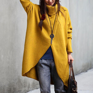 Casual High Neck Batwing Sleeve Plain Sweater