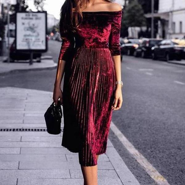 Ficcia Off Shoulder Velvet Pleated Midi Dress