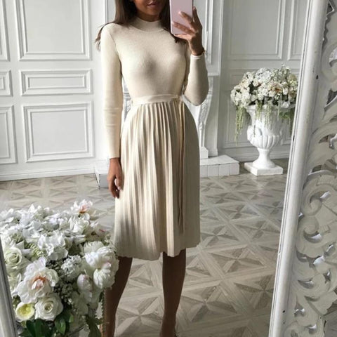 Ficcia Long Sleeve Pleated Sweater Dress
