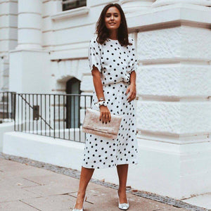 Ficcia Commute Round Neck Short Sleeve Polka Dot Printed Two-Piece Dress