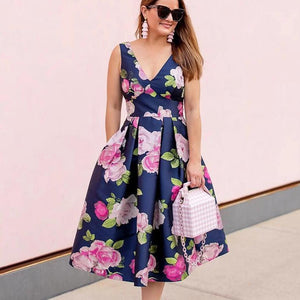 Ficcia Stylish Navy Floral Print Sleeveless Midi Dress