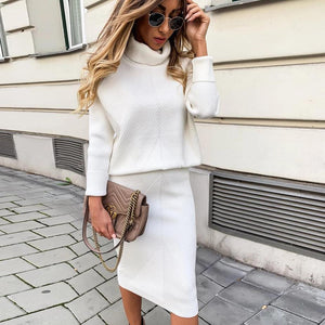 Ficcia Turtle Neck Long Sleeve Two-Piece Sweat Dress