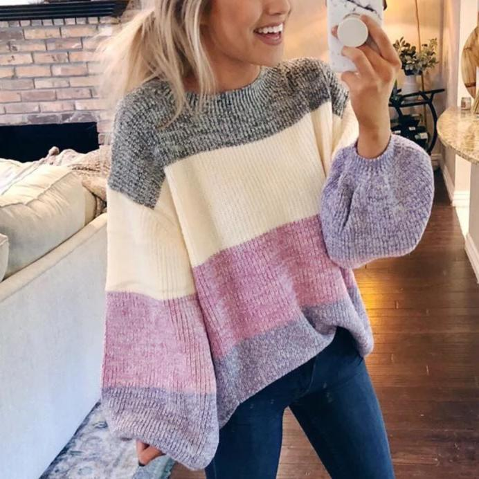 Ficcia Striped Patchwork Long Balloon Sleeve Sweater