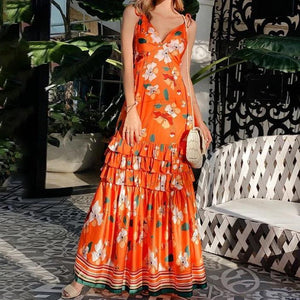 Ficcia Chic Summer V-Neck Floral Maxi Dress