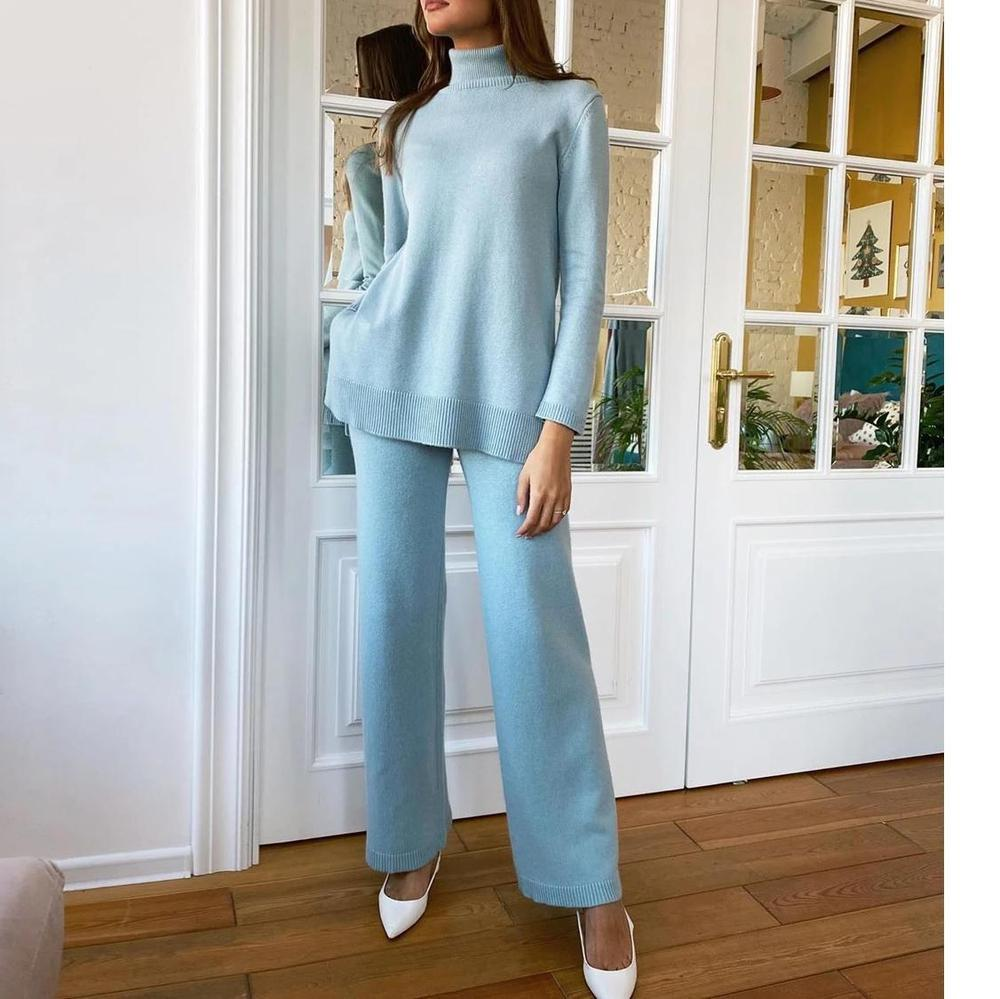 Ficcia Long Sleeve Split Sweatershirt With Wide Leg Pant Two-Piece Set