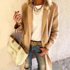Ficcia Fashion Taupe Long Sleeve Lapel Coat