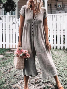 Ficcia Solid Short Sleeve Casual Romper Jumpsuit