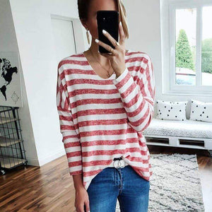Ficcia Pink Striped V-Neck Long Sleeve Tee