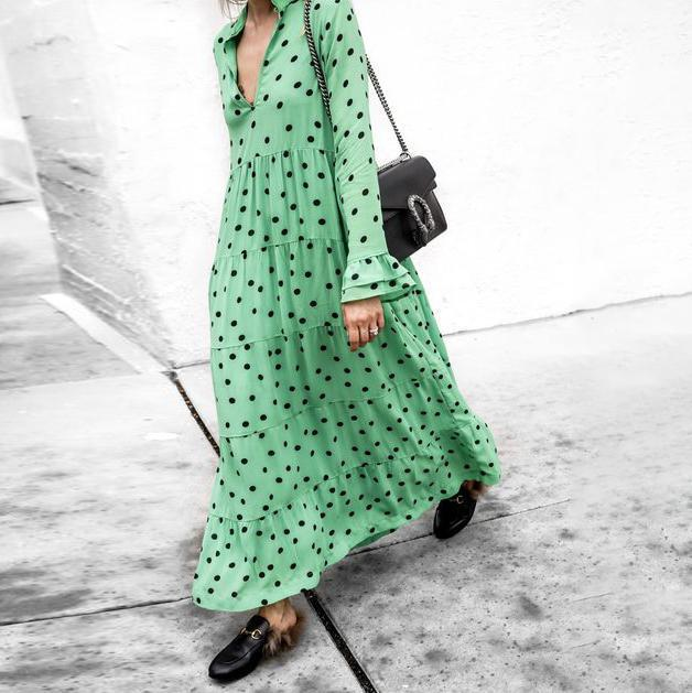 Ficcia Green V-Neck Polka Dots Print Tiered Maxi Dress