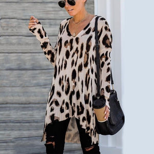 Ficcia Casual Leopard V-Neck Long Sleeve Sweater