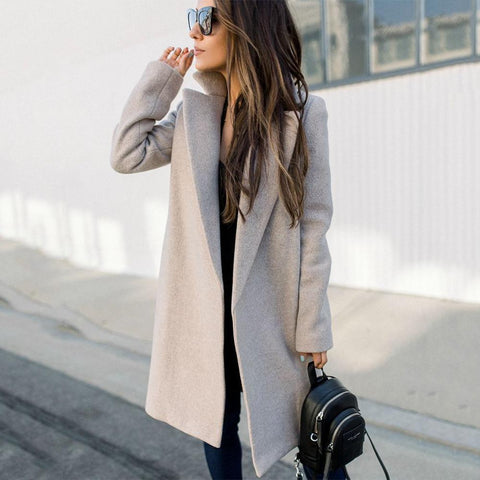 Ficcia Casual Warm Grey Lapel Coat