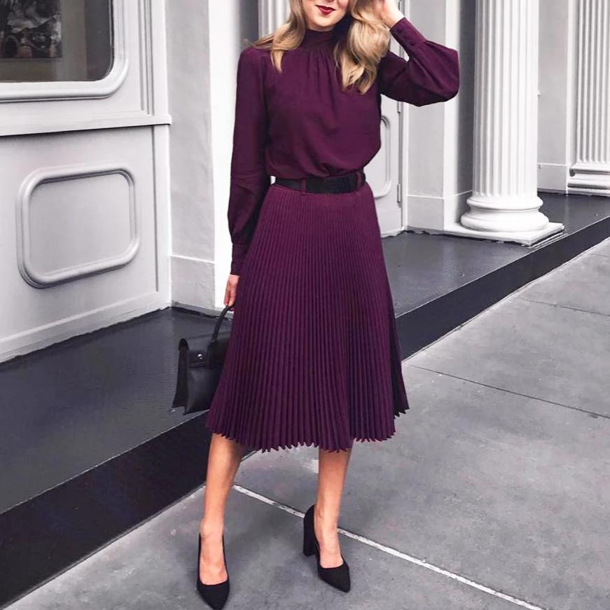 Ficcia Purple High Neck Long Sleeve Pleated Midi Dress