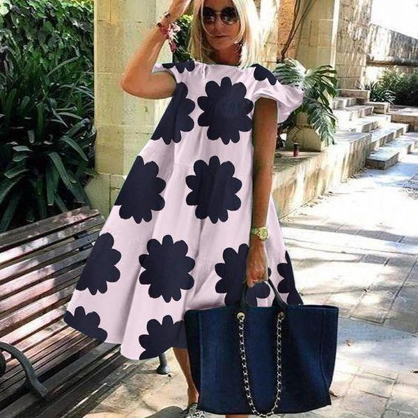Ficcia Chic Floral Short Sleeve Midi Dress