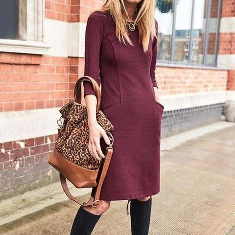 Burgundy Fitted Min Dress
