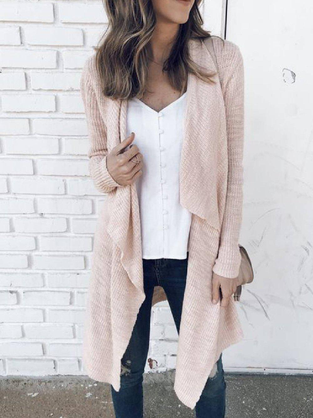 Pink Knitted Casual Cardigan