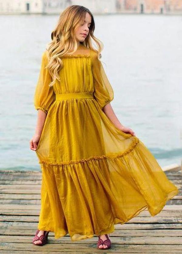 Ficcia Fashion Yellow Square Neck 3/4 Sleeve Slim Fit Splice Maxi Dress