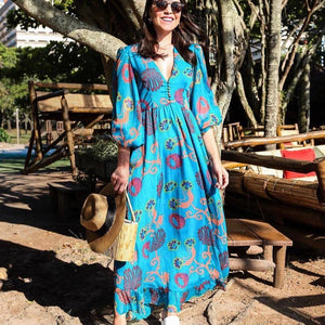 Ficcia Lantern Sleeve V-Neck Print Maxi Dress