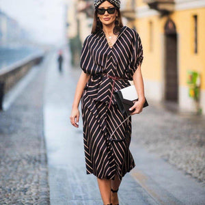 Ficcia Black Striped Two-Piece Midi Dress