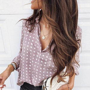Ficcia Trendy Polka Dot V-Neck Top