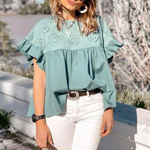 Ficcia Chic Ruffled Sleeves Hollow Out Blouse