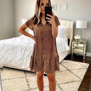 Ficcia Ruffle Short Sleeve Print Mini Dress