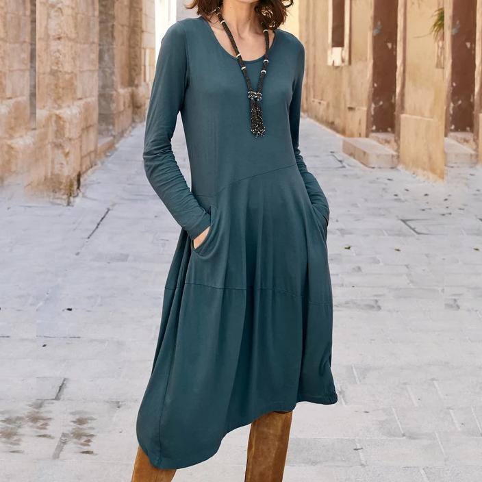 Dark Blue Long Sleeve High Low Midi Dress