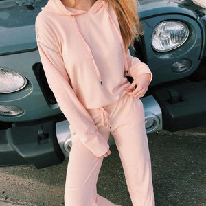 Ficcia Sweet Cute Pink Hoodie Long Sleeve Two-Piece Set