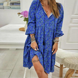 Ficcia Temperament Royal Blue V-Neck Long Sleeve Pleated Printed Dress