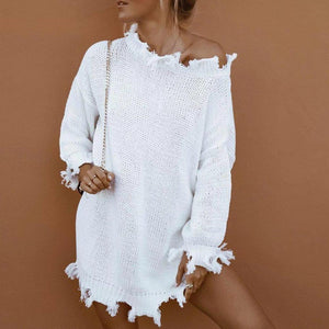 Off Shoulder Long Sleeve Mini Ripped Dress
