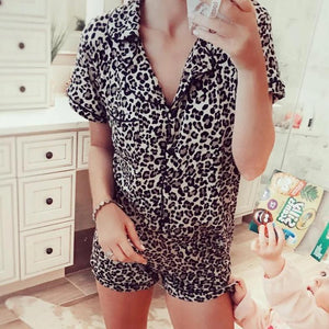Ficcia Leopard Short Sleeve Button Pajama Set