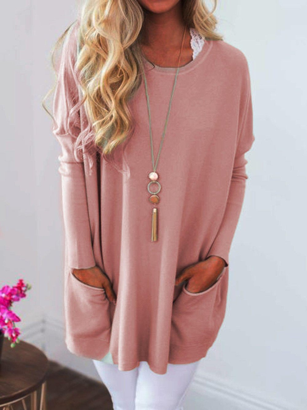 Casual Round Neck Long Sleeve Plain Tee