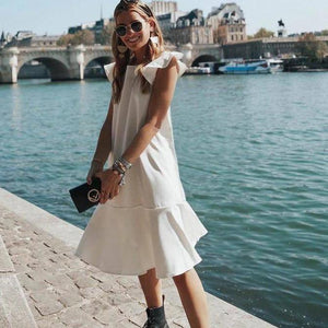 Ficcia White Flutter Sleeve Midi Dress