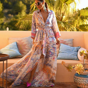 Ficcia New Print V-Neck Split Maxi Vacation Dress