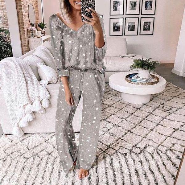 Ficcia Casual Long Sleeve Love Heart Print Lounge Set