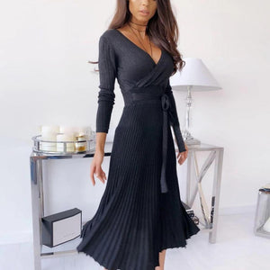 Ficcia Elegant V-Neck Waisted Long Sleeve Midi Dress