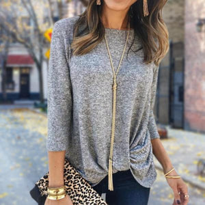 Casual Fashion Round Neck Long Sleeve Tee