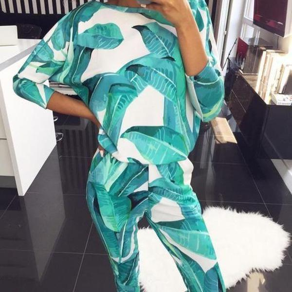 Ficcia New Print Round Neck Lounge Two Piece Set