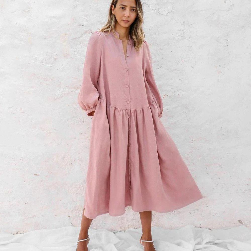 Ficcia New Lantern Sleeve Pink Midi Dress