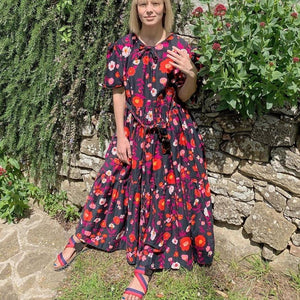Ficcia Floral Short Sleeve Ruched Maxi Dress