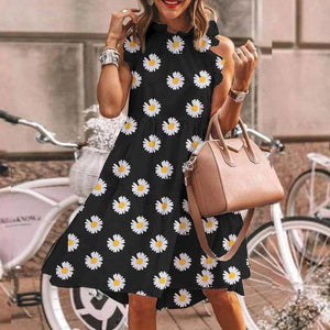 Ficcia Cute Daisy Print Sleeveless Flowing Mini Dress