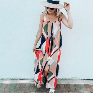 Ficcia New Geometric Print Square Neck Front Split Maxi Dress