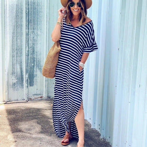 Ficcia Casual Loose Striped Half Sleeve Maxi Dress