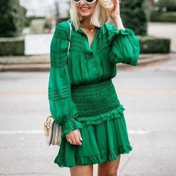 Ficcia Solid Green Long Bell Sleeve Mini Dress