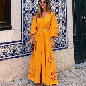 Ficcia Stylish Puff Sleeve Plain V-Neck Maxi Dress