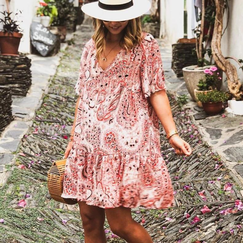 Ficcia Floral Short Sleeve Vacation Mini Dress