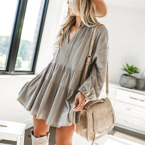Ficcia Sweet Long Sleeve Trapeze Mini Dress