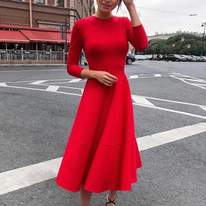 Ficcia Vintage Red Round Neck Long Sleeve Midi Dress
