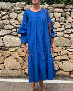 Ficcia Temperament Royal Blue Round Neck Long Sleeve Loose Splice Pleated Dress