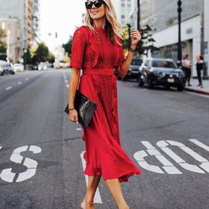 Ficcia Red Lace Patchwrok Midi Dress